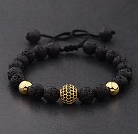 Мужской каменный браслет mod.Sfera золото, фото 1