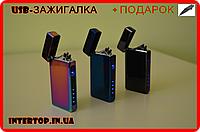 Металлическая сенсорная USB зажигалка с Led индикатором заряда.Электроимпульсная зажигалка+подарочная упаковке