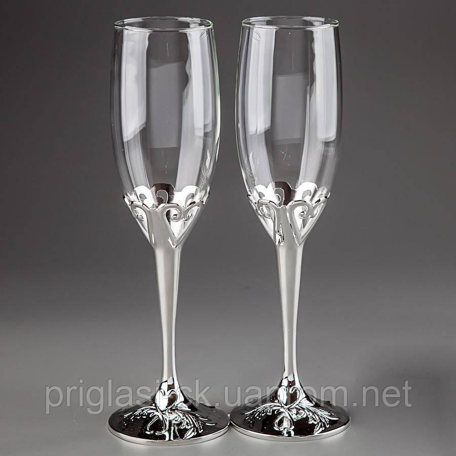"""Свадебные бокалы для молодоженов на серебристой ножке  - Интернет-магазин """"Priglasi"""". Свадебная полиграфия и аксессуары  в Черкассах"""
