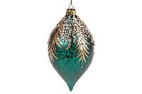 Елочное украшение в форме капли с декором из бусин 15см, цвет - зеленый, стекло, в упаковке - 4шт. (874-522)
