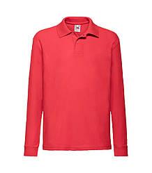 Детская футболка поло с длинным рукавом красная 201-40