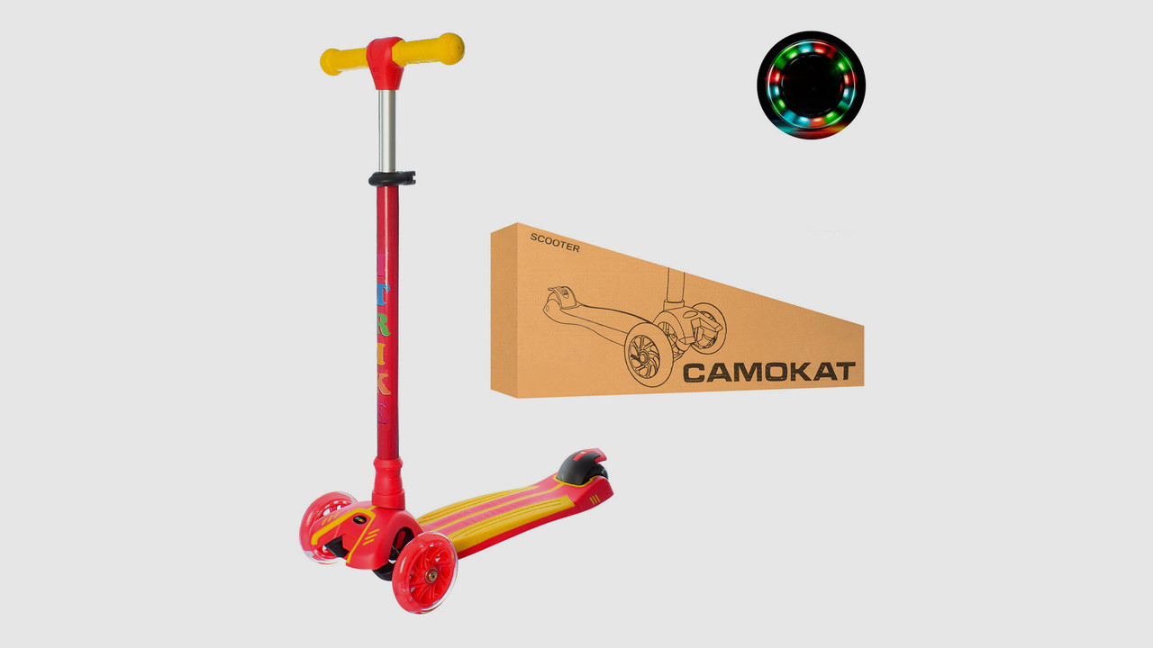 Самокат iTrike MAXI.JR3-048-R.Полиуретановые колеса.Подножка.Красный с желтым