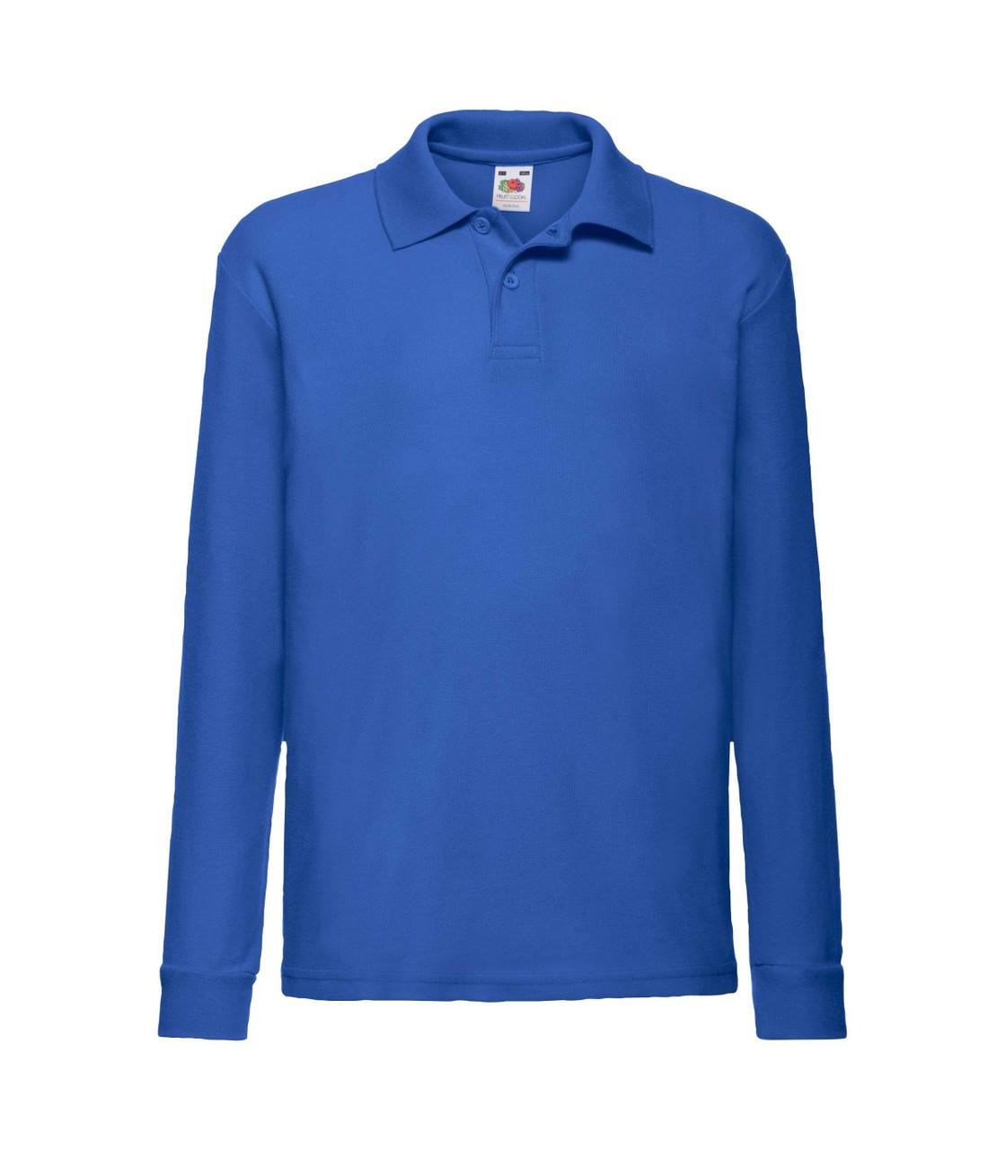 Детская футболка поло с длинным рукавом синяя 201-51