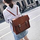 Рюкзак портфель винтажный рыжий., фото 2