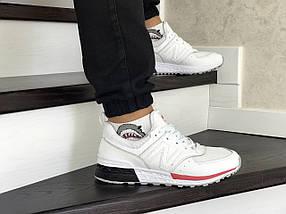 Мужские кроссовки белые NB эко замша 8431, фото 3