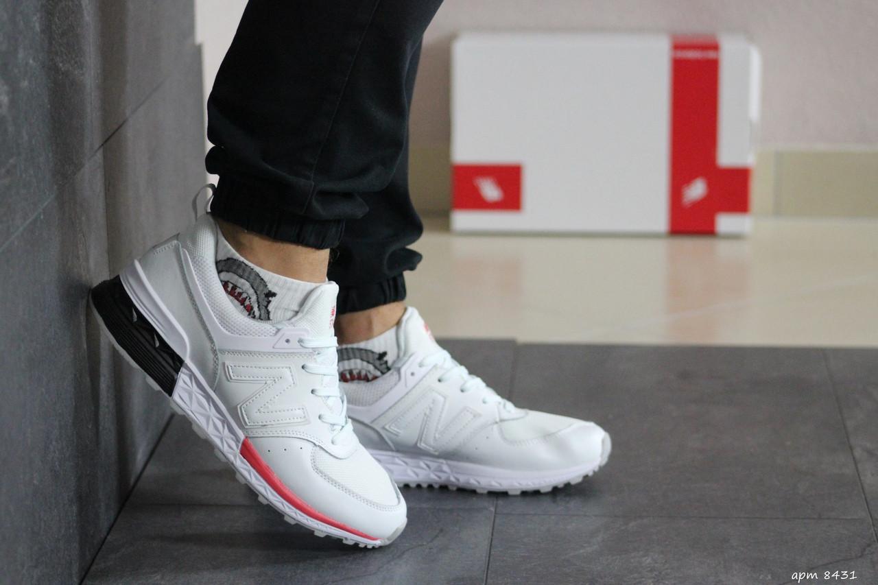 Мужские кроссовки белые NB эко замша 8431