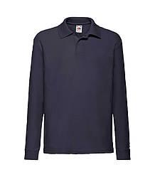 Детская футболка поло с длинным рукавом темно-синяя 201-AZ