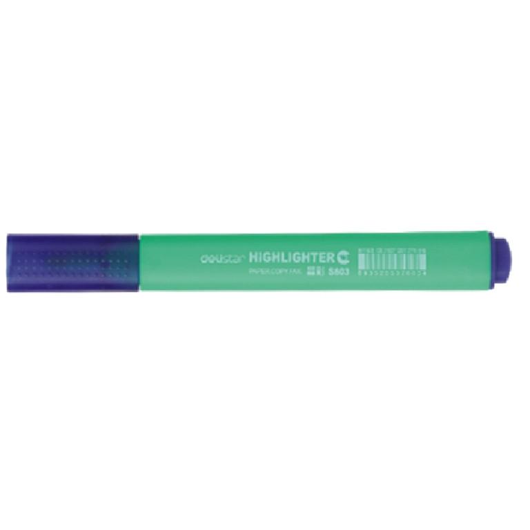 Маркер текстовый Deli 603S зелёный 4мм скошенный треугольный корпус