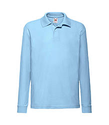 Детская футболка поло с длинным рукавом голубая 201-YT