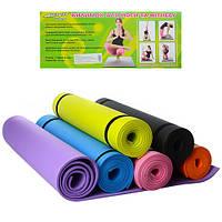 Коврик для фитнеса и йоги 0380-3 (гимнастический коврик): 173х61см, толщина 6мм