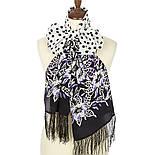 Полевой вьюнок 1660-18, павлопосадский шарф шелковый крепдешиновый с шелковой бахромой, фото 2