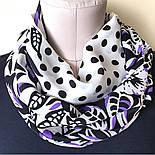 Полевой вьюнок 1660-18, павлопосадский шарф шелковый крепдешиновый с шелковой бахромой, фото 4