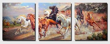 Картина по номерам 50х120 см. Триптих Babylon Дикие лошади (DZ-211)