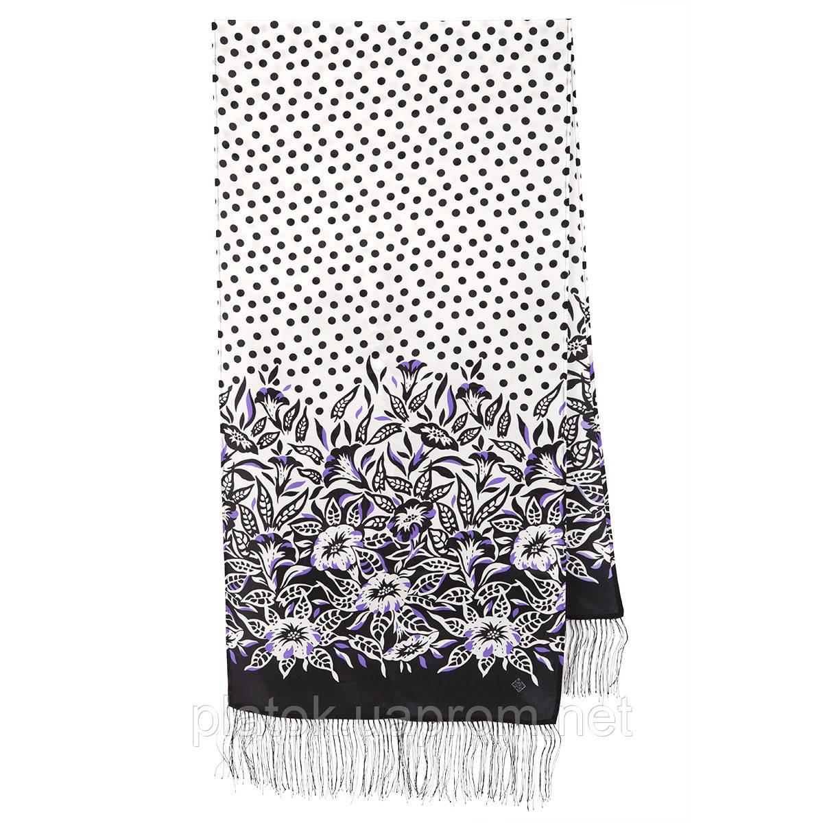 Полевой вьюнок 1660-18, павлопосадский шарф шелковый крепдешиновый с шелковой бахромой