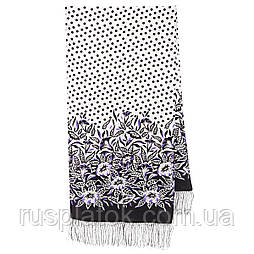 Польова берізка 1660-18, павлопосадский шовковий шарф крепдешиновый з шовковою бахромою