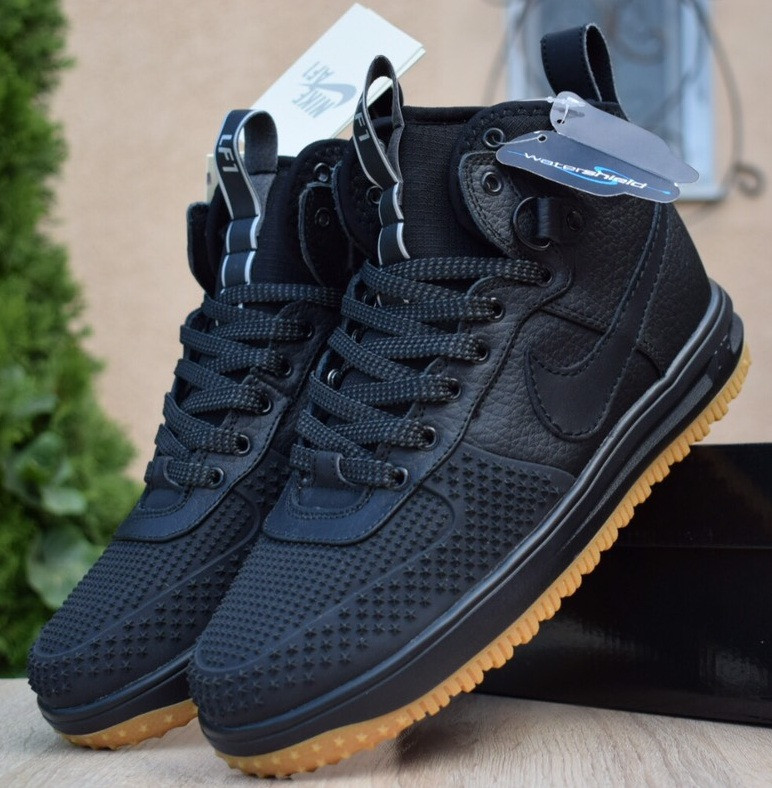 Мужские теплые кроссовки Nike Lunar Force 1 Duckboot black без меха 41-45рр. Живое фото(Реплика ААА+)