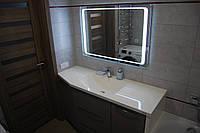 Умывальник из искусственного камня со столешницей в ванную (изготовление на заказ по нестандартным размерам)