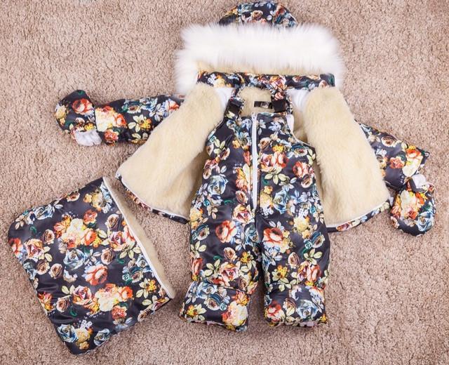 Зимний комбинезон тройка для девочки картинка
