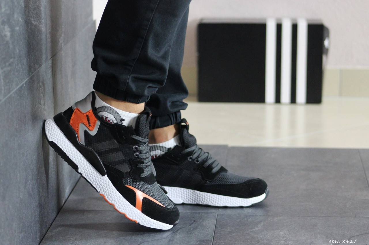 Кроссовки мужские Adidas Nite Jogger Адидас Джоггер, черные / чоловічі кросівки адідас (Топ реплика ААА+)