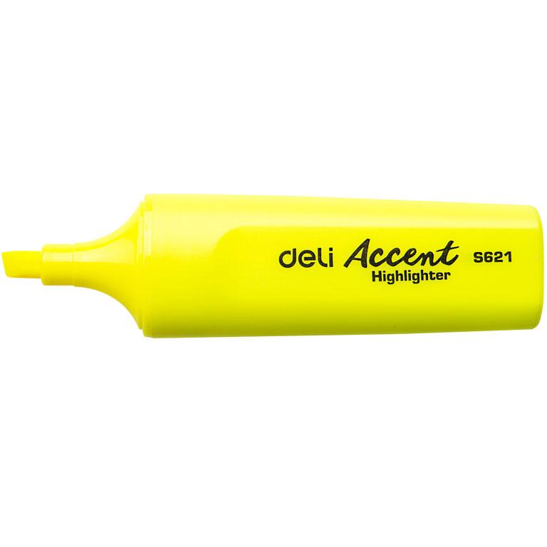 Маркер текстовый Deli 621ES жёлтый 5мм скошенный Accent