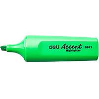 Маркер текстовый Deli 621ES зелёный 5мм скошенный Accent