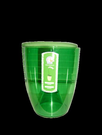 """Прозрачное кашпо для орхидей """"Орхидея"""" зеленое V=1,8л (d=15см h=17см)  """"Алеана"""""""