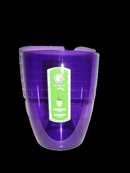 """Прозрачное кашпо для  орхидей """"Орхидея"""" фиолетовое V=1,8л (d=15см h=17см)  """"Алеана"""""""