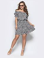 Модное женское платье play из котона на резинке S 44 белый цвет принт сердечки  s19APw14_ps