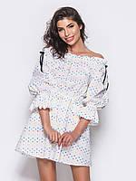 Модное женское платье play из котона на резинке S 44 белый цвет принт сердечки s19APw14_ps звездочки