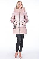Модная зимняя куртка био-пух 19012 gessica sabrina от mishele с искусственным мехом козлика 44,46,48,50,52,54, фото 1