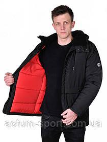 Куртка мужская зимняя с меховым капюшоном черная