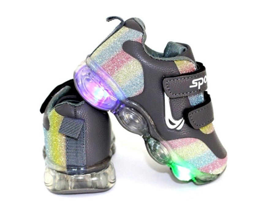 Модные серые детские кроссовки со светящейся подошвой