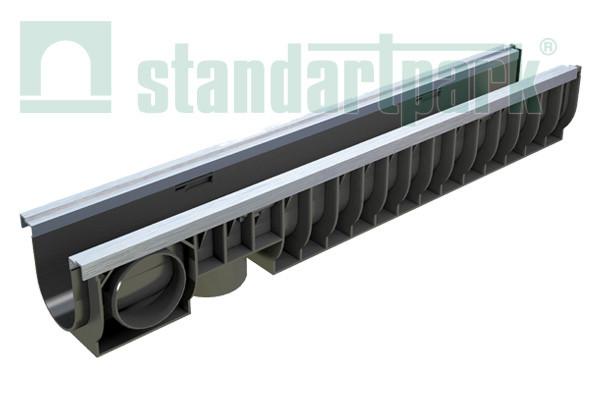 Лоток водоотводной PolyMax Basic ЛВ-10.16.16-ПП пластиковый усиленный 8007