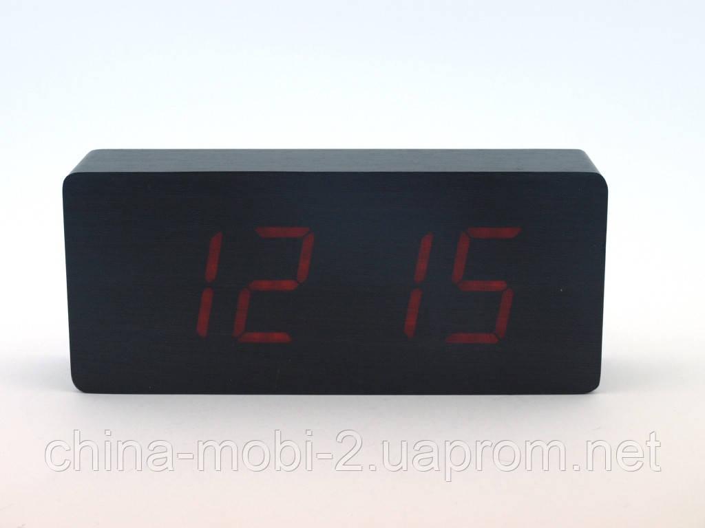 Часы настольные VST-865 с цифровым циферблатом, темный дум с красными цифрами