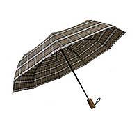 """Автоматический зонт с деревяной ручкой и куполом в клетку от """"Три слона"""", кофейный, 624-5"""