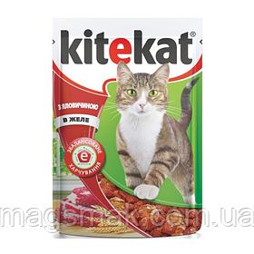 Влажный корм для кошек Kitekat (говядина в желе) х24