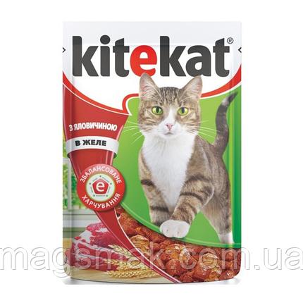 Влажный корм для кошек Kitekat (говядина в желе) х24, фото 2