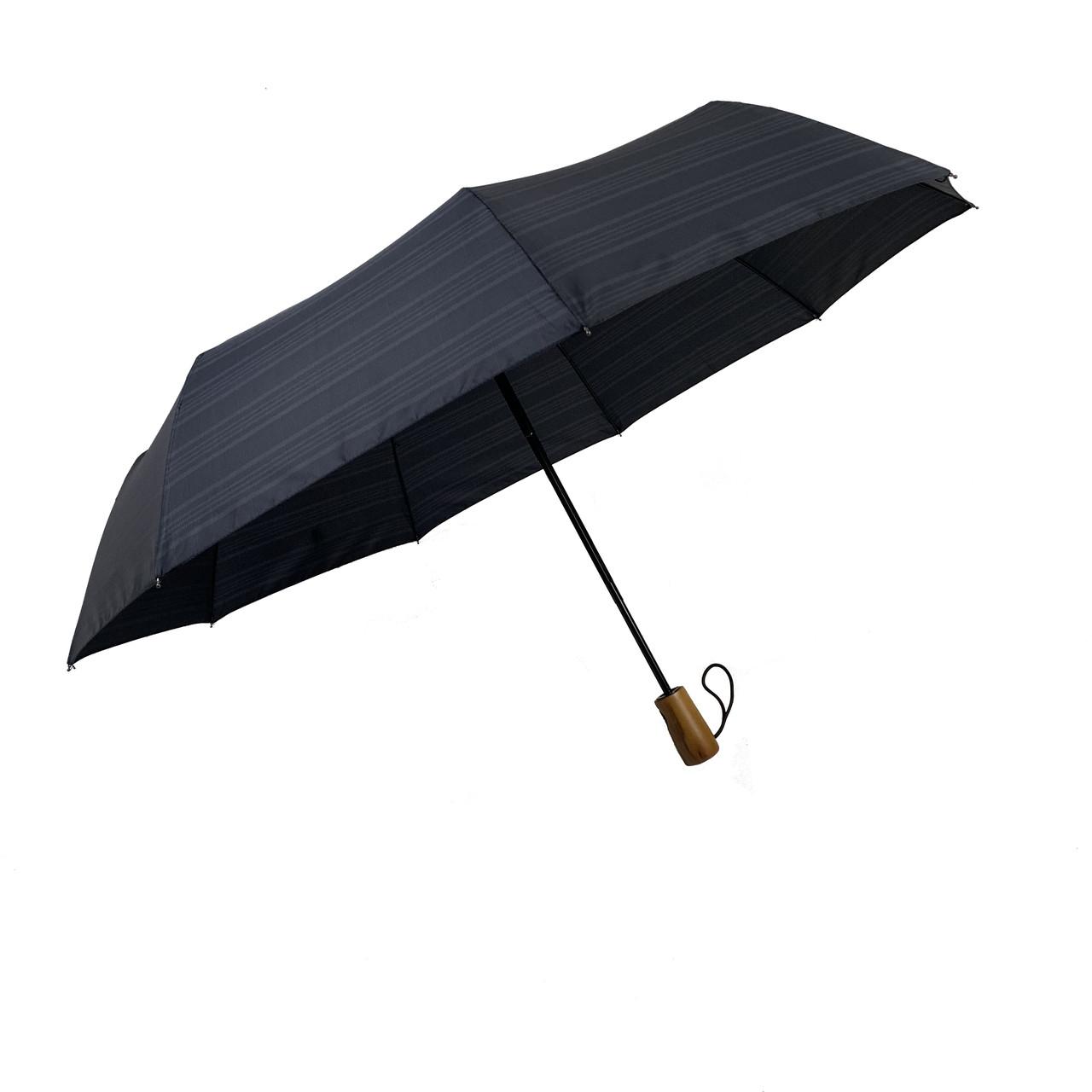 """Автоматический зонт с деревяной ручкой и куполом в клетку от """"Три слона"""", темно-серый, 624-6"""
