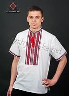 Чол. сорочка, нашивка ткана кор.рукав, бавовна, 58