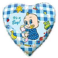 "Фольгована кулька серце блакитне is a boy 18""  Flexmetаl"