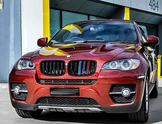 Решетка радиатора ноздри BMW X6 E71 стиль M ( черный глянц + М колор )
