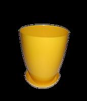 """Вазон-кашпо """"МАТИЛЬДА"""" с подставкой V=2,3л (d=15см h=18,5см) темно-желтый """"Омела"""""""