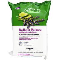 Вологі очищаючі серветки з екстрактами лаванди, огірка і пребіотиками, 30шт, Avalon Organics