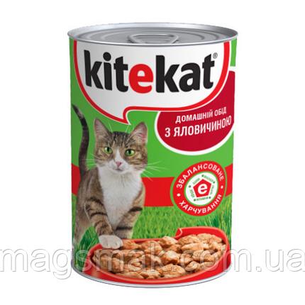 Влажный корм для кошек Kitekat (говядина) в ж/б 400г х12, фото 2