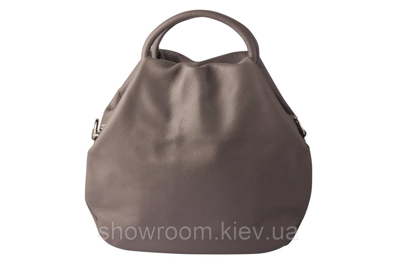 Удобная женская сумка Vera Pelle (351) кожаная серая