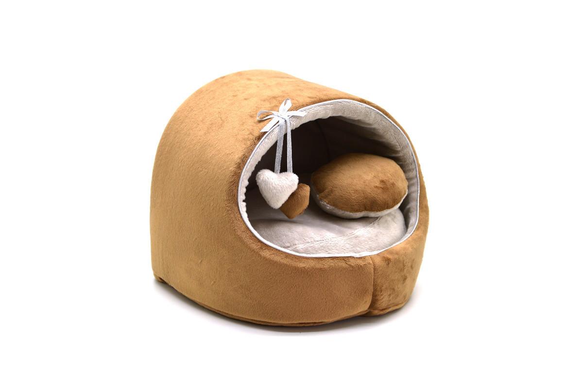Будка для собак и котов Плюш коричневая