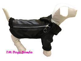 Осенняя дубленка для собак, черная