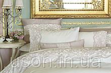 Комплект постельного белья сатин люкс Pepper home евро размер Alexis Pembe