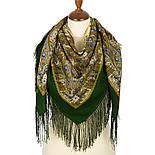 Дикий мёд 1712-10, павлопосадский платок шерстяной (двуниточная шерсть) с шелковой бахромой, фото 2