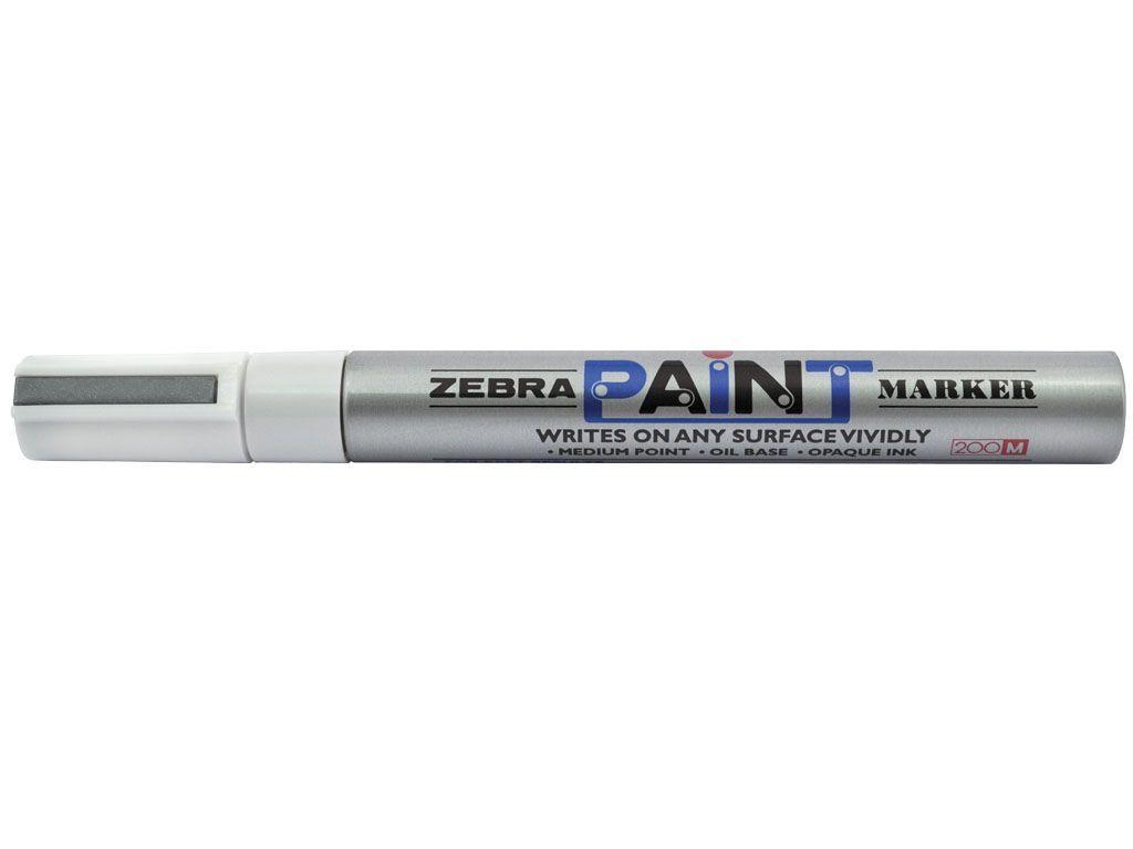"""Маркер перманентний Zebra срібний 3,5мм пулевідной """"Paint"""""""